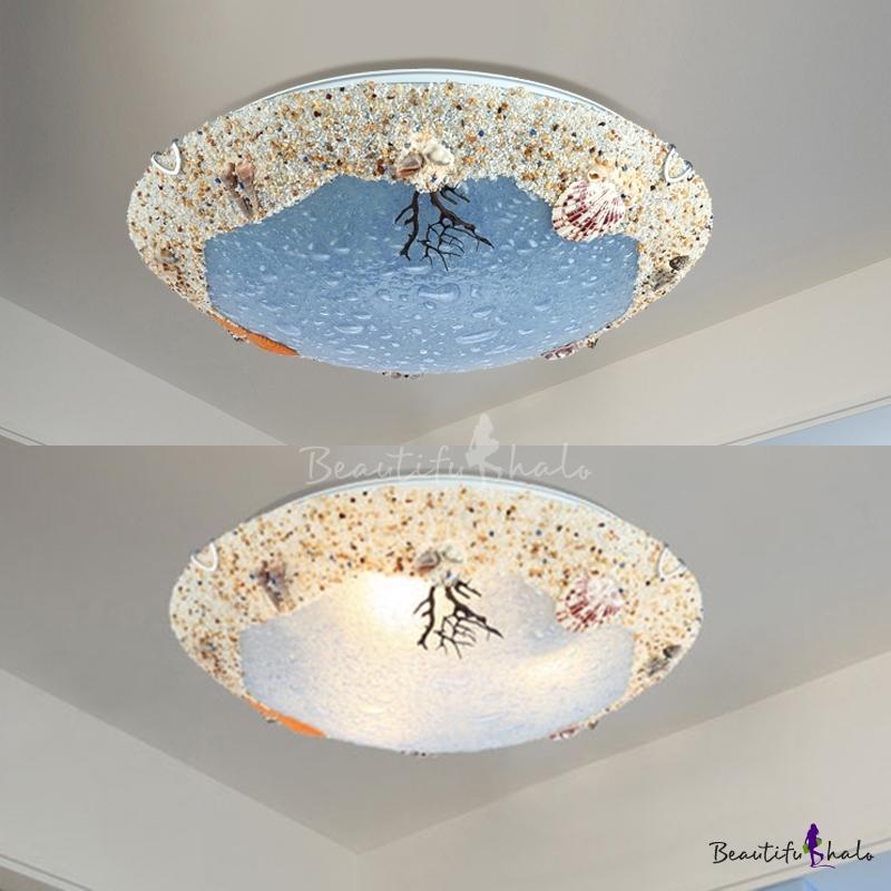 Seashell 3 Light Flush Ceiling Light Mediterranean