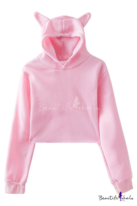Photno Womens Cat Ear Hooded Long Sleeve Pocket Blouse Plus Size Irregular Pullover Casual Loose Printed Tops Sweater