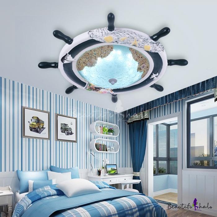 Glass LED Flush Ceiling Light With Round Rudder Blue