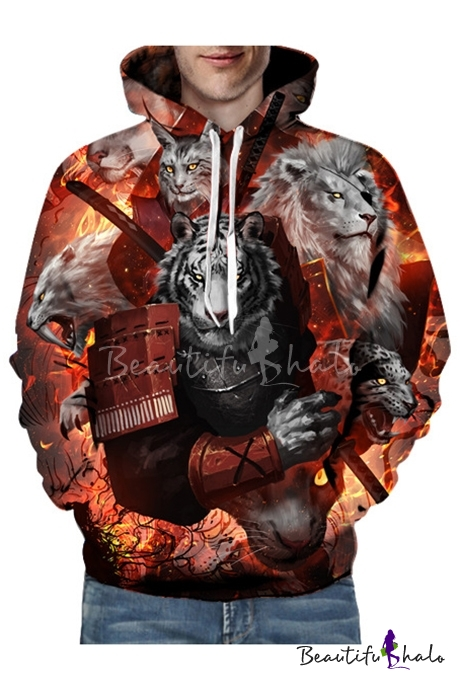 c1a573fab 3D Tiger Lion Printed Long Sleeve Hoodie for Couple - Beautifulhalo.com