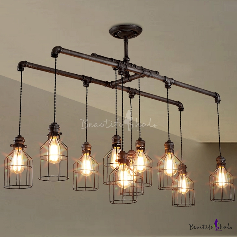 Weathered Iron 10 Light Linear Chandelier With Bird Cage