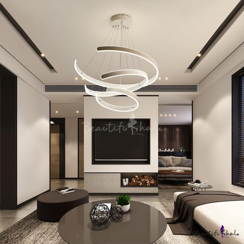 Art Deco Chandelier Cord Adjustable Multi Ring Geometric Led Pendant Lighting Aluminum 60 100 180w Round Eclipse Led Chandelier In White Beautifulhalo Com