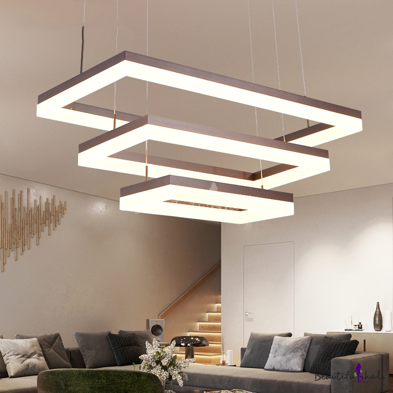 Stylish Living Room Lighting Ideas Meethue: Modern Adjustable Pendant Lighting Frosted LED Rectangular