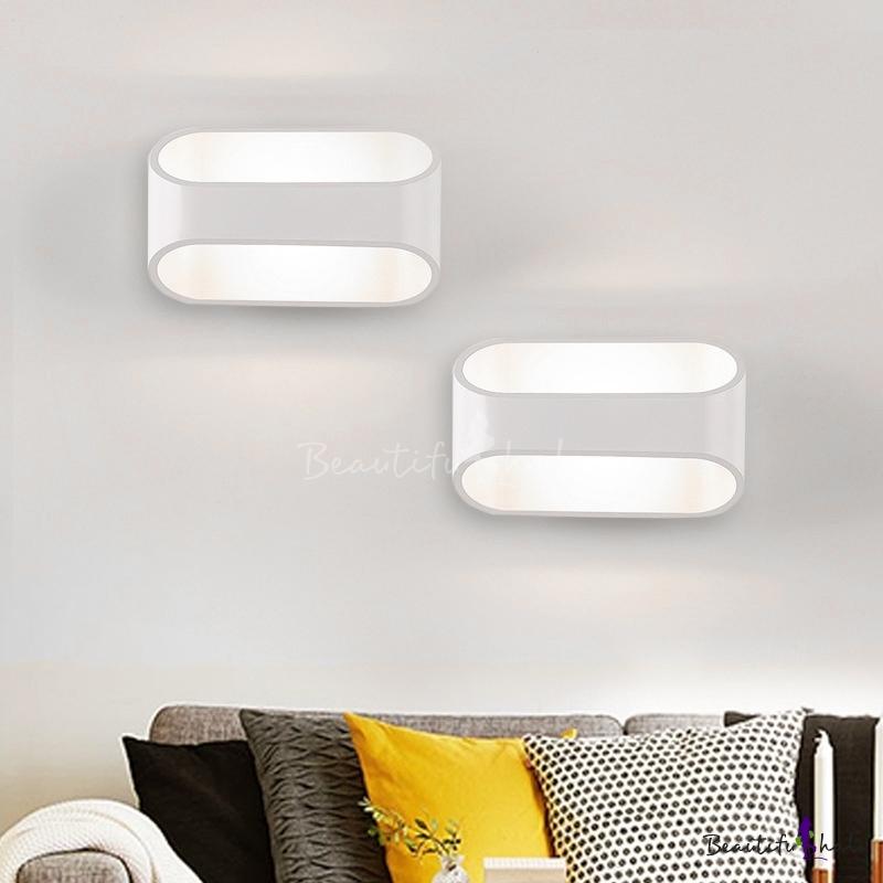 Wall Led Lamp Aluminum Oval Shaped