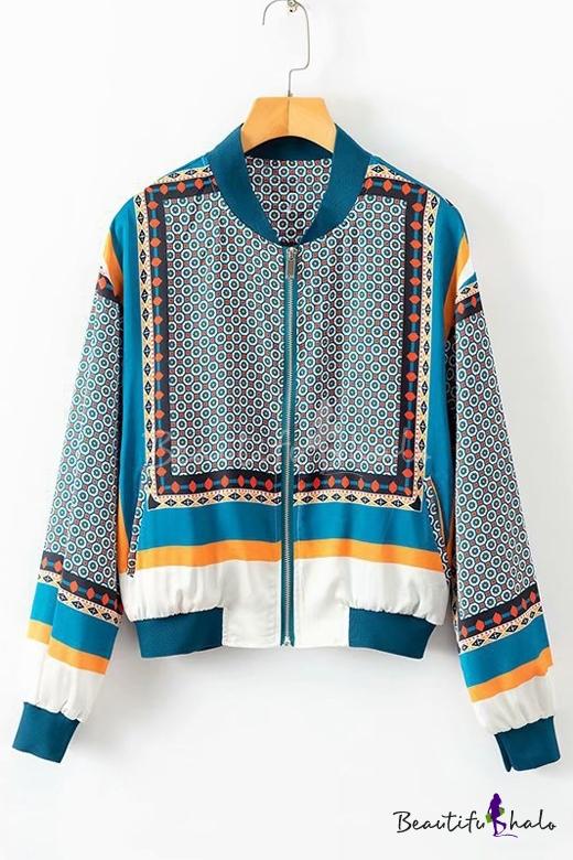 Stand Collar Geometric Floral Print Zip Long Sleeve Baseball Jacket