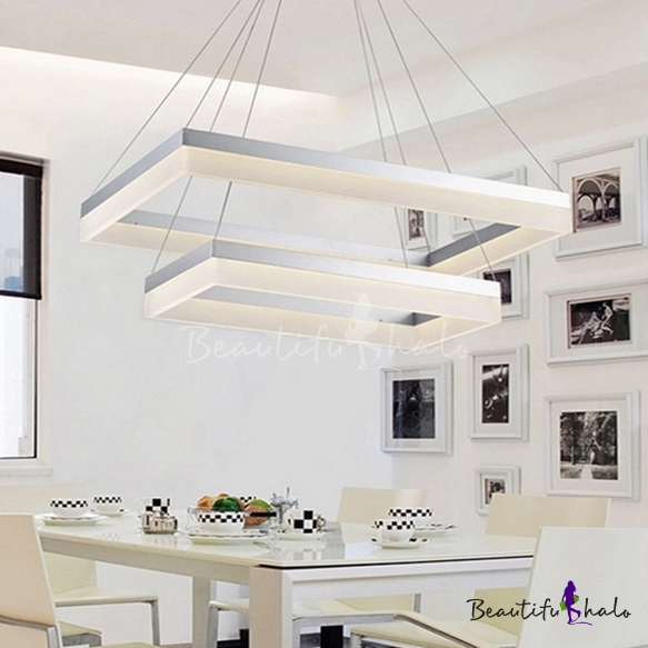 Modern Chandelier for Dining Room Kitchen Frosted Shade Level Rectangle LED  Chandelier 30/100/130W LED Warm White Ambinet Light 1/2/3 Tiered Ring ...