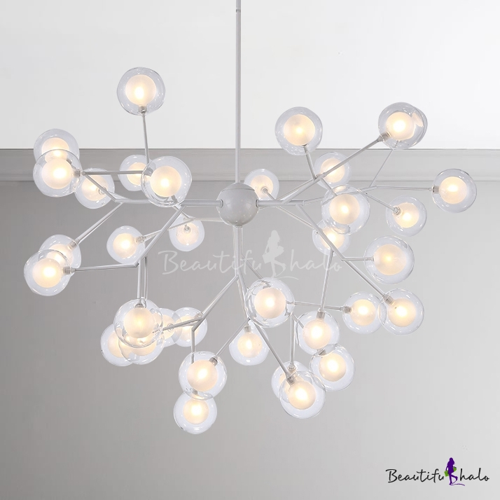 Modern LED Light Designers Lighting Metal LED Modo Chanelier 9/27/36/45/54/63 Light 27W-192W Bubbly Chandelier White Indoor Lights Home