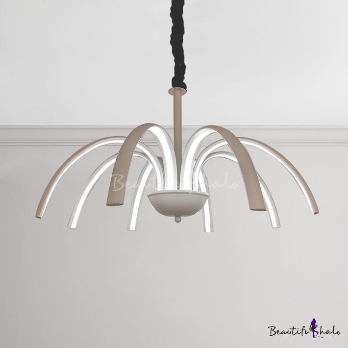 Modern Indoor Lighting White LED Octopus Chandelier 80W High Bright Metal Multi Light Pendant Study Room Bedroom Living Room