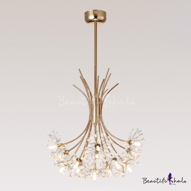 Decorative Indoor Lights 36/57W Gold LED Dandelion Chandelier 13 Light/19 Light Blossom Hanging Light Post Modern LED Lights Living Room Dining Room Staircase