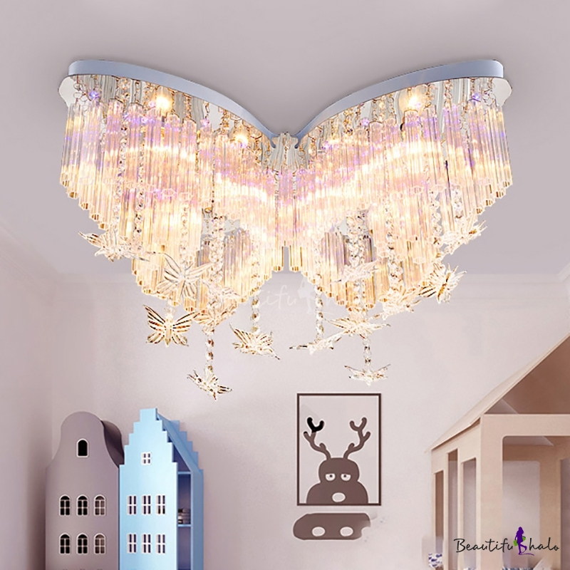 butterfly led chandelier girls bedroom hanging crystal 19063 | 1543391437903