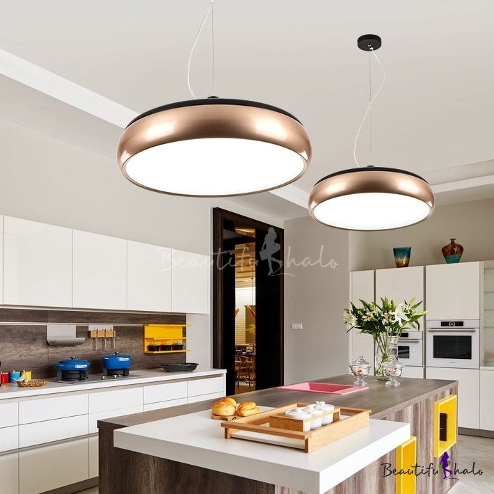 Champagne Gold Round Pendant Lamp Post Modern Style Metal LED Hanging Light  for Living Room Dining Room