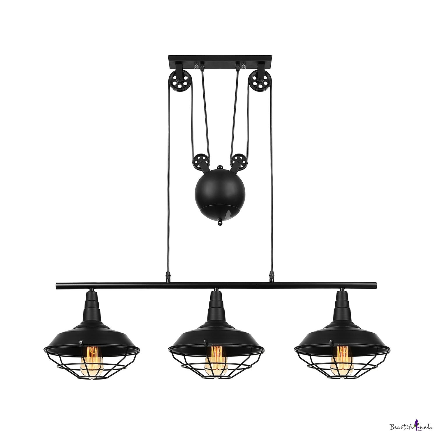 Pulley 3 Head Billiard Light In Balck Barn Shade With Wire