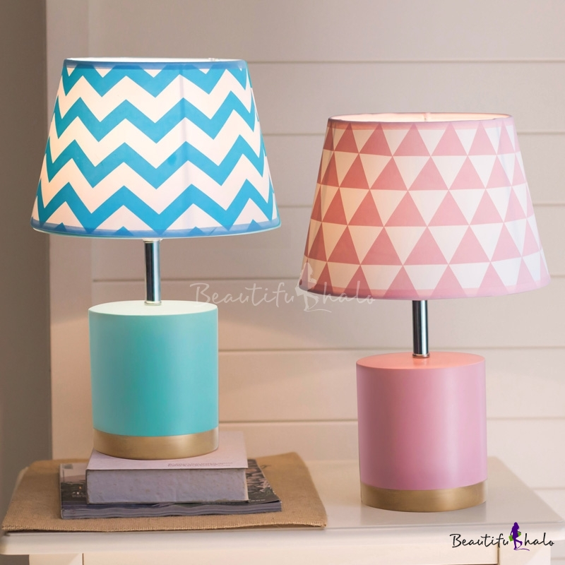 Cone Single Light Table Lamp With Blue Pink Fabric Shade Reading Light For Boys Girls Bedroom Beautifulhalo Com
