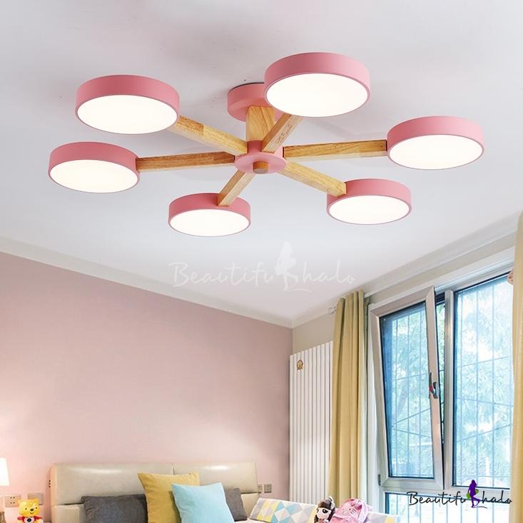 3/6 Lights Drum Ceiling Lamp Modern Fashion Living Room Acrylic Chandelier Light Pink