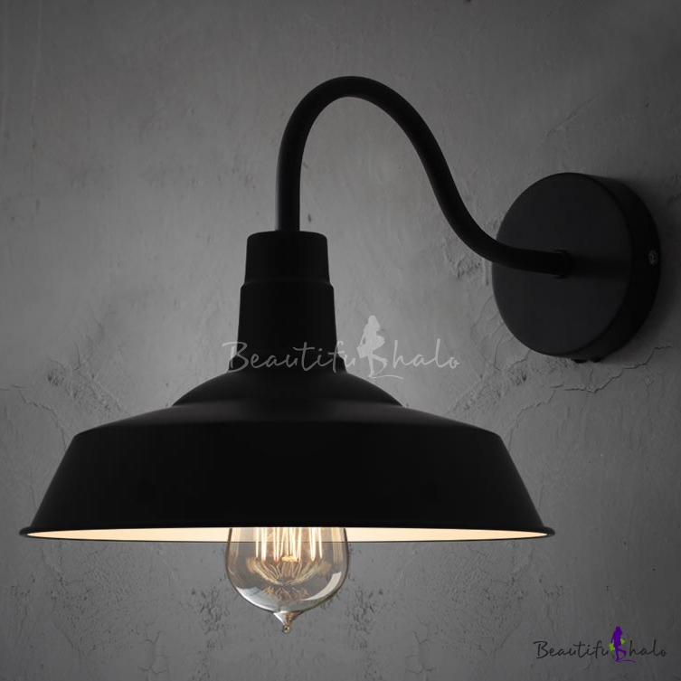 Black Barn Shade Wall Light With