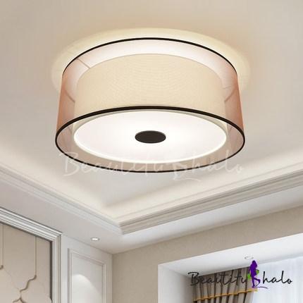 Fabric Cylinder Flush Light Fixtures