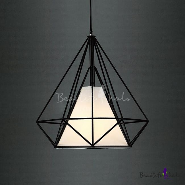 Diamond Cage Led Pendant Light In Black
