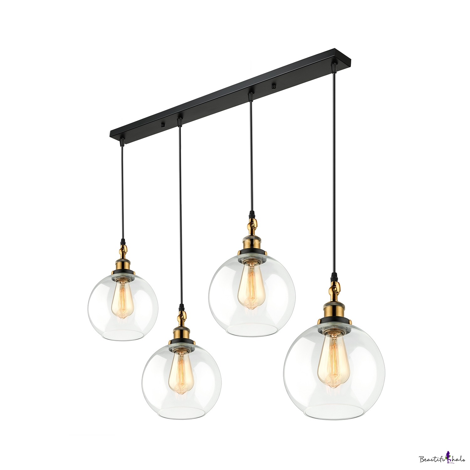 Retro Style Multi Light Pendant In Gl Globe Shade Linear Lighting Black