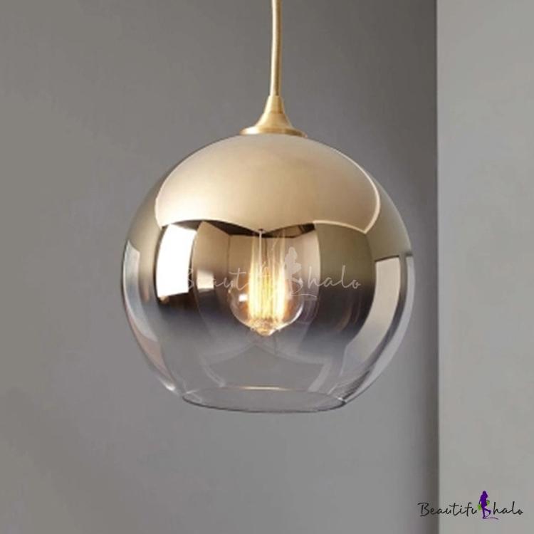 Gold Finish Ball Hanging Lamp