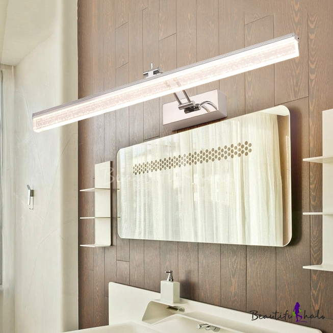 Minimalist Linear Makeup Mirror Light Rotatable Acrylic Waterproof Vanity Light In Stainless For Bathroom Beautifulhalo Com