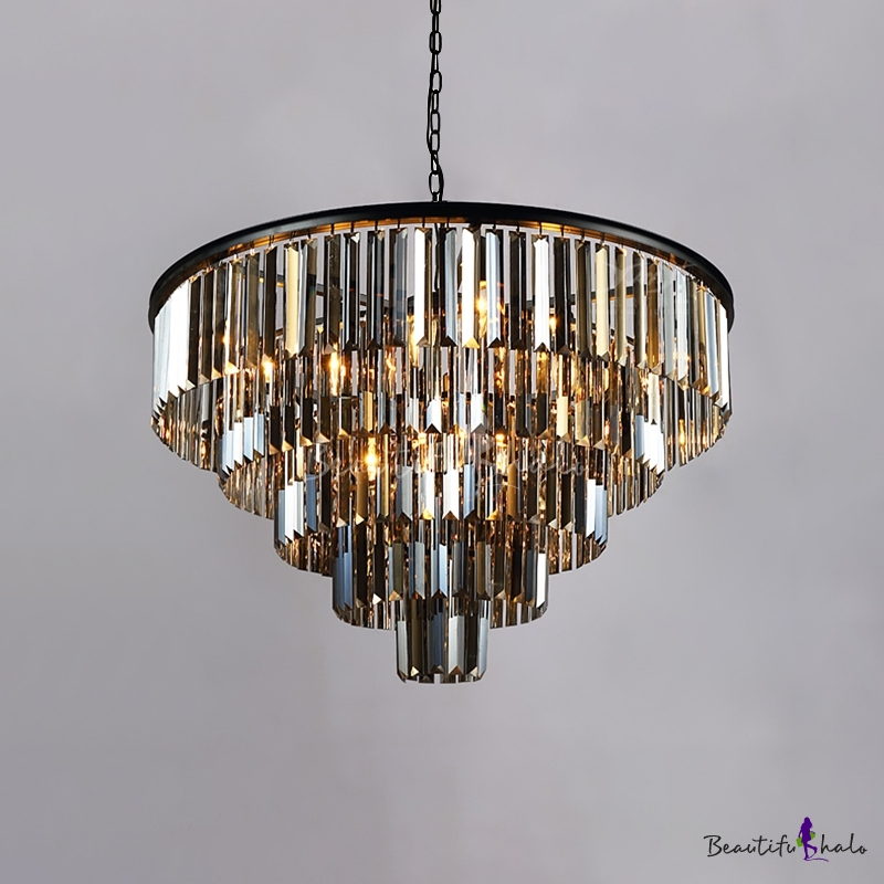 9 Bulbs Fountain Hanging Chandelier Smoke Crystal Modern Chic Suspension Light Living Room