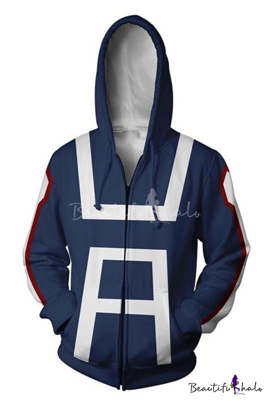 67a9f2480 My Hero Academia 3D Printed Cosplay Costume Long Sleeve Blue Zip Up Hoodie