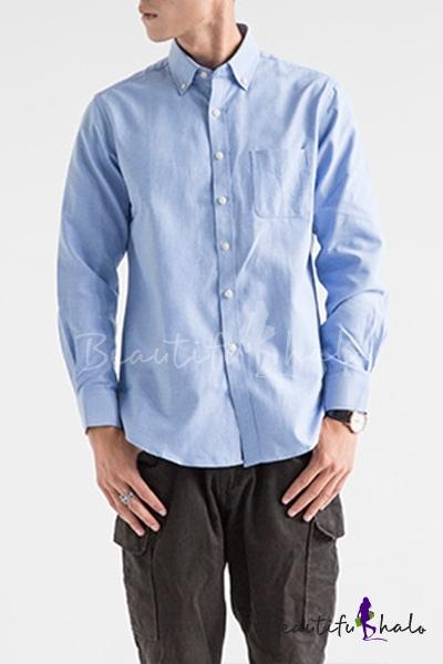 Oxford Men/'s Regular Fit Long Sleeve One Pocket Business Dress Shirt