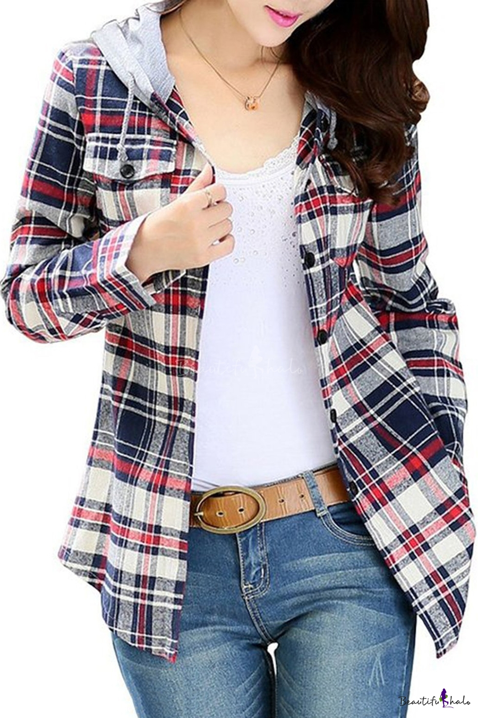 Domple Mens Long Sleeve Plaid Pockets Button Up Hoodie Dress Shirts