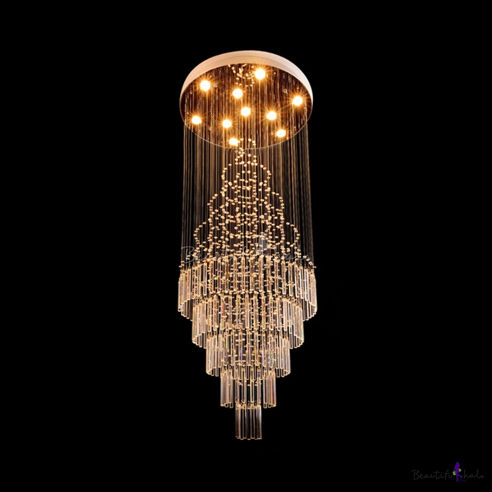 Clear Crystal Round Canopy Ceiling Light 4/6/7 Lights Modern Hanging Chandelier Polished Chrome