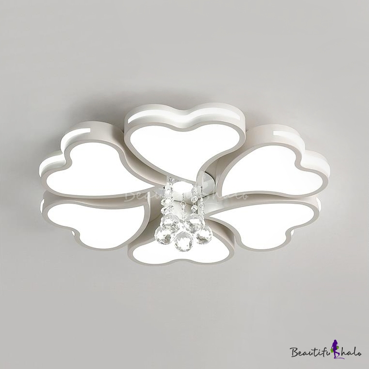 Petal Ceiling Fixture Living Room 4/8/10 Lights Modern Flush Mount Light White