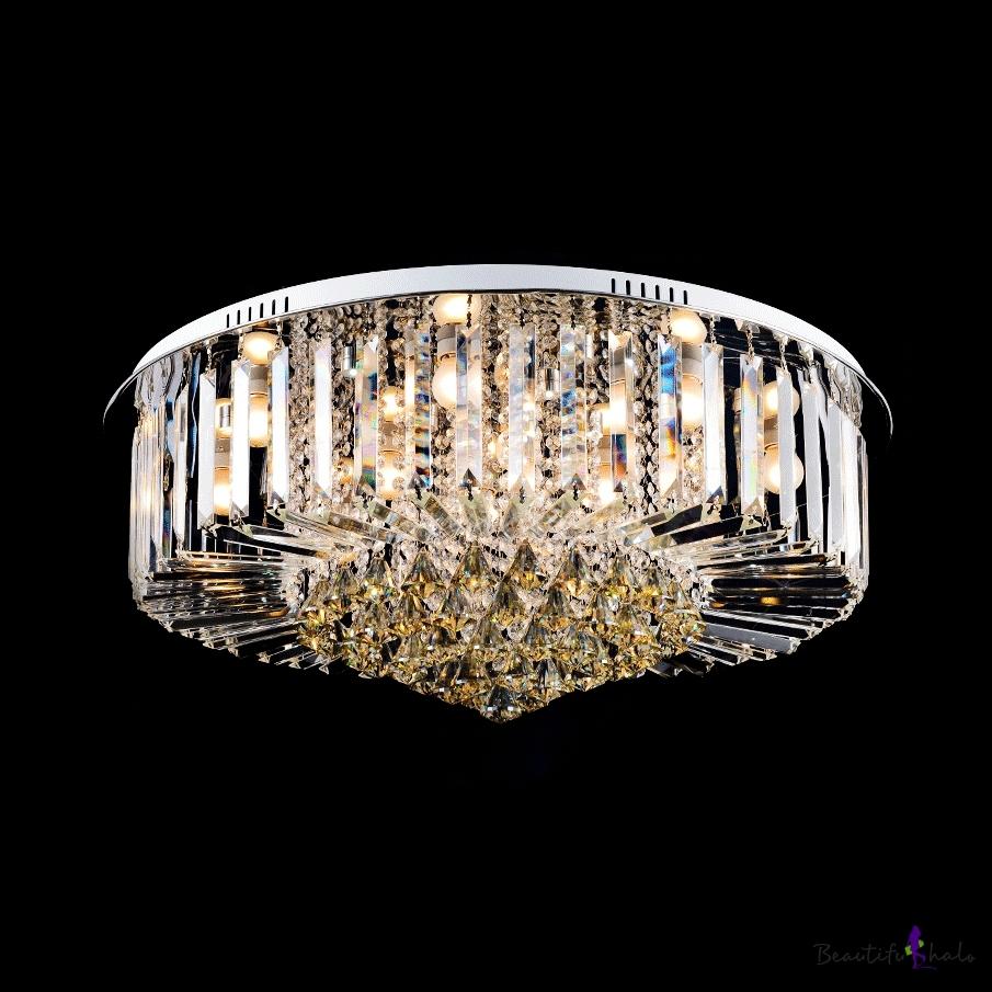 Vintage Style Flush Mount Lighting Clear Amber Crystal Multi Lights Ceiling Light Fixture Living Room