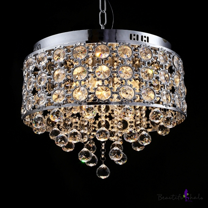 Clear Crystal Round Canopy Chandelier 4 Lights Contemporary Pendant Lights Adjustable Cord Chrome