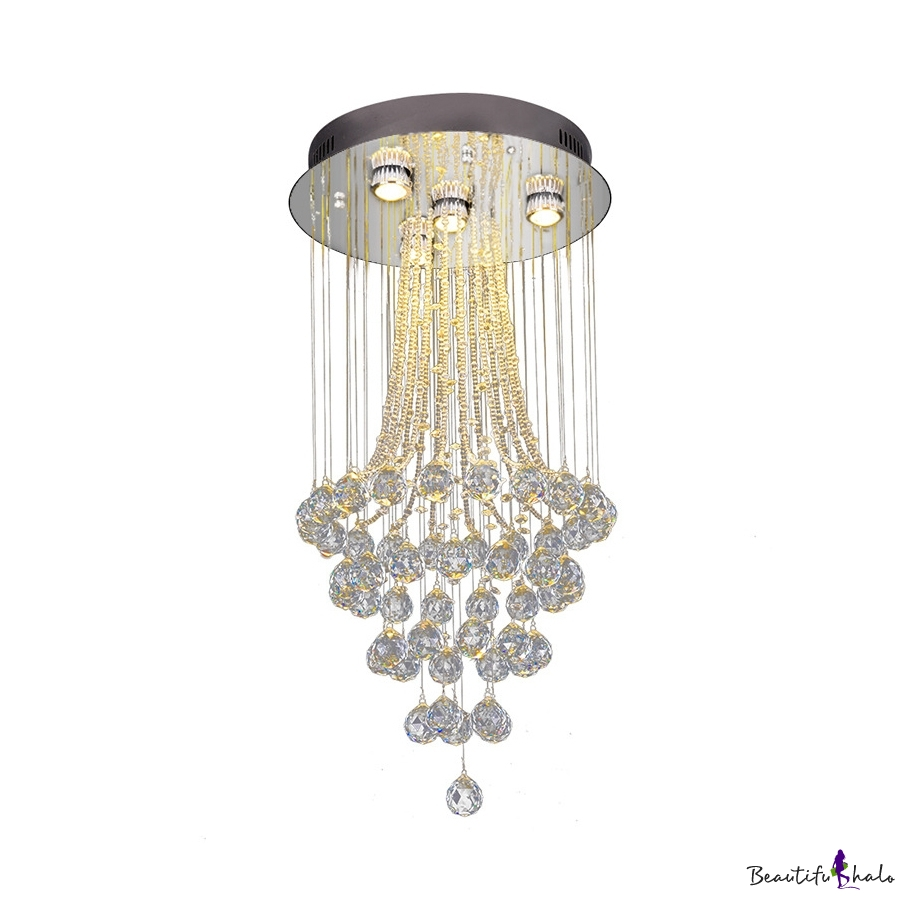 Chrome Round Canopy Ceiling Light 4/7/9 Lights Contemporary Clear Crystal Chandelier Foyer