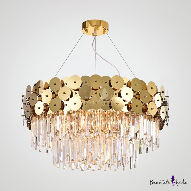 Modern Drum Chandelier Clear Crystal Metal 8/12/16 Lights Brass Chandelier Light Living Room