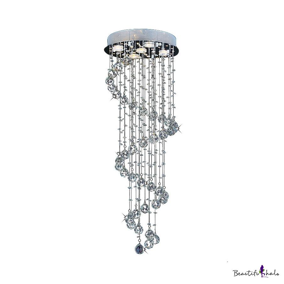 Spiral Flush Ceiling Living Room 7/9/13 Lights Modern Chandelier Polished Chrome