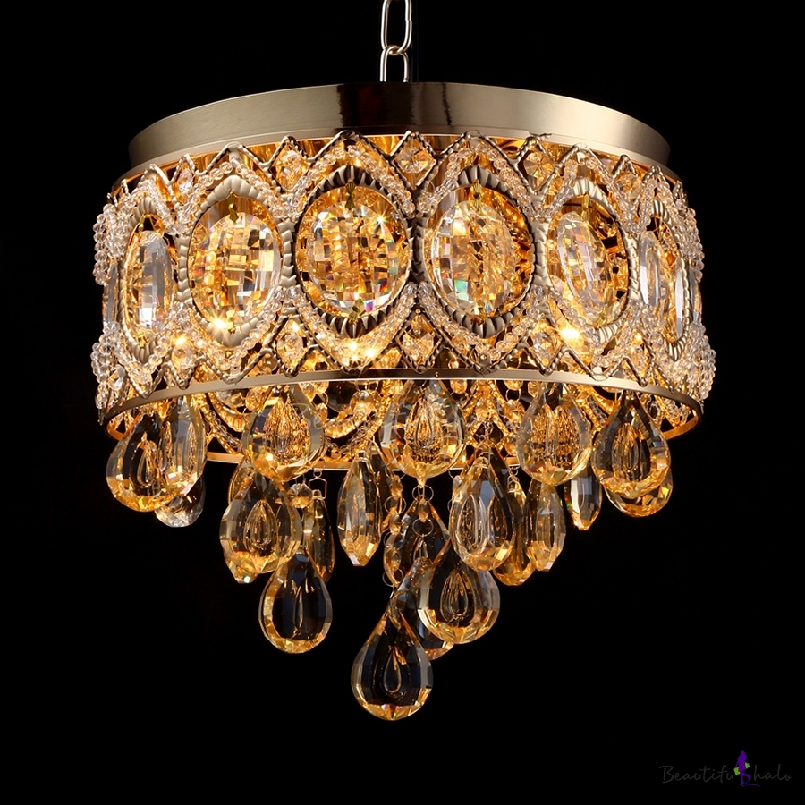"""Clear Gold/Silver Crystal Round Canopy Ceiling Light 4 Lights Modern Chandelier 12""""/23.5"""" Cord"""