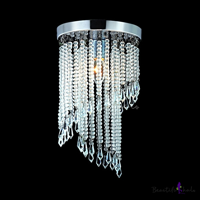 Contemporary Spiral Chandelier 1 Light Clear Crystal Flush Mount Light Polished Chrome