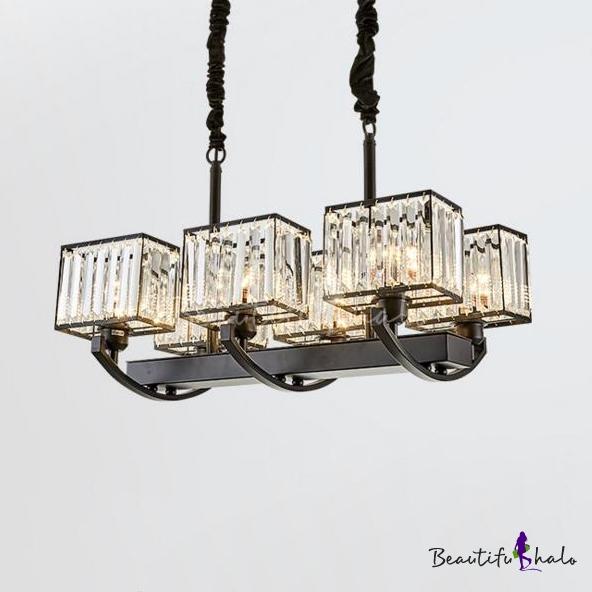 Rectangle Hanging Pendant Clear Crystal Shade 6/8 Lights Modern Chandelier Black Living Room