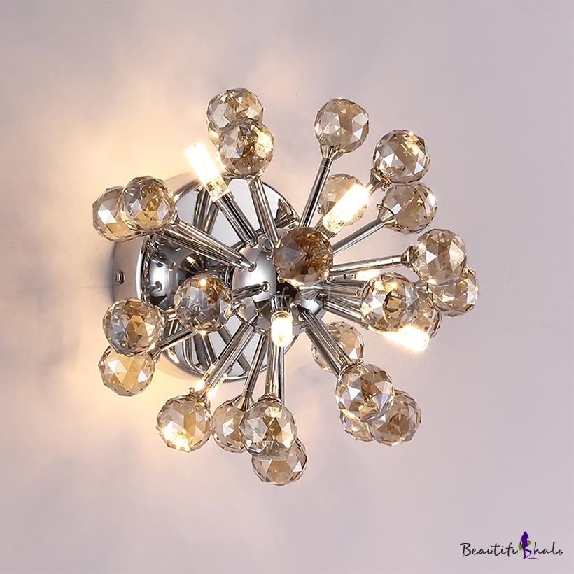 Sputnik LED Ceiling Light Clear/Amber Crystal Ball Mid Century Modern Flush Mount Polished Chrome