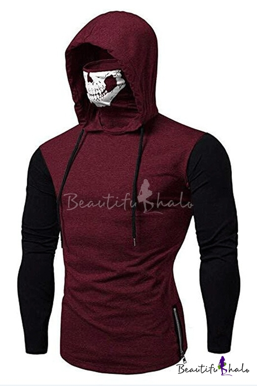 1920fec7 Call of Duty Mens New Trendy Patched Long Sleeve Zip Side Skull Mask Hooded  T-Shirt