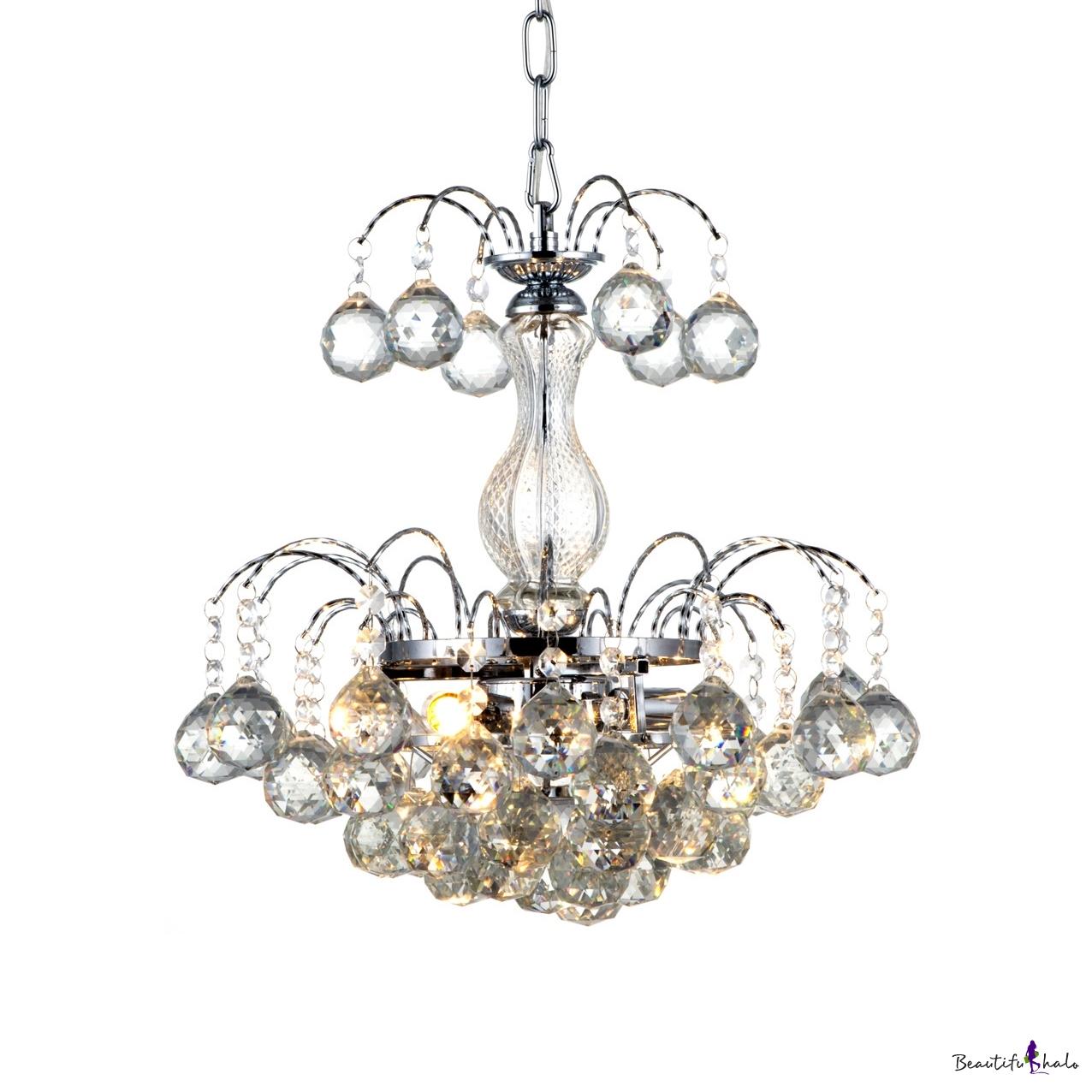 3 Lights Hanging Chandelier Modern Adjustable Clear Crystal Pendant Lighting Polished Chrome