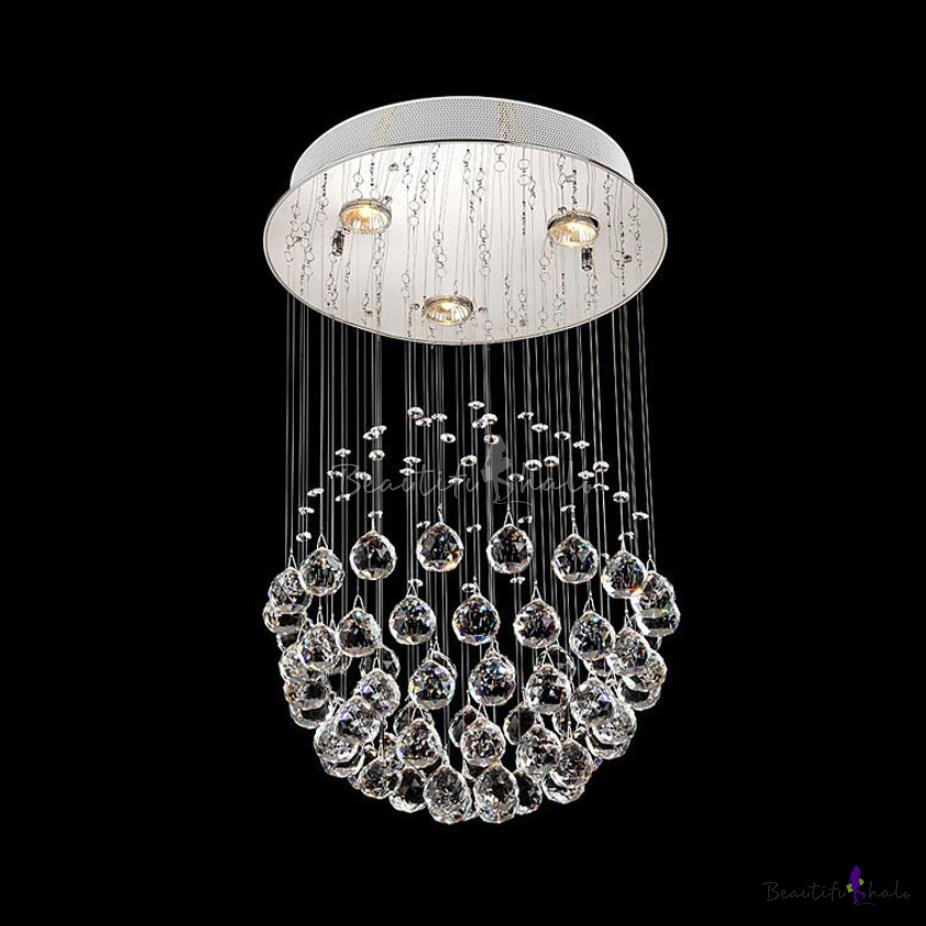 Modern Polished Chrome Flush Mount Lighting Crystal Ball 3/5/7/14 Lights Clear Crystal Chandelier