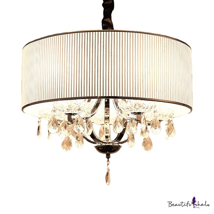 Drum Living Room Pendant Lighting Adjustable Cord Clear Crystal Decoration 4 Lights Modern Chandelier Beige/Silver/Black