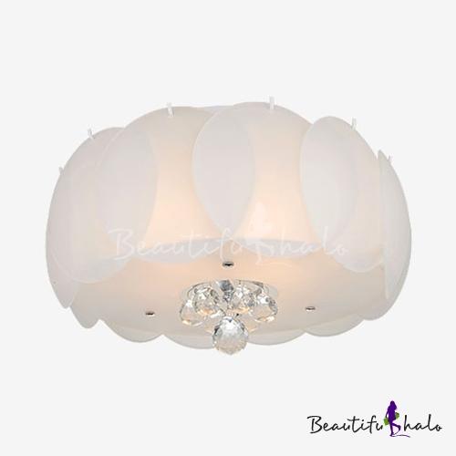White Glass Drum Flush Mount 3/4/5 Lights Modern Style Ceiling Light Fixture Clear Crystal Living Room