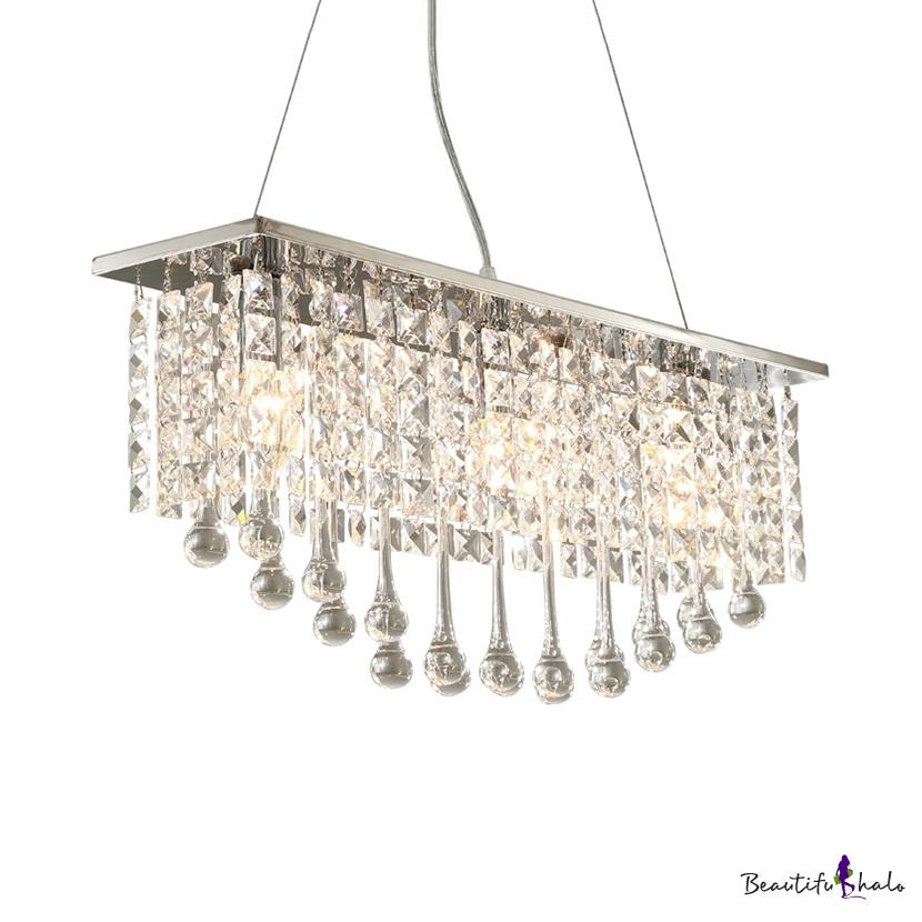 Rectangle Clear Crystal Pendant Light 5 Lights Modern Hanging Chandelier Chrome