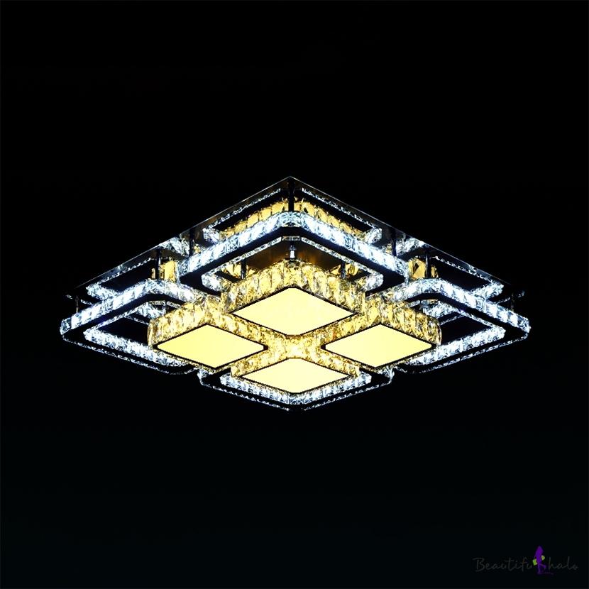 Living Room Square Ceiling Fixture Modern Chrome LED Semi Flush Mount Light Clear Crystal