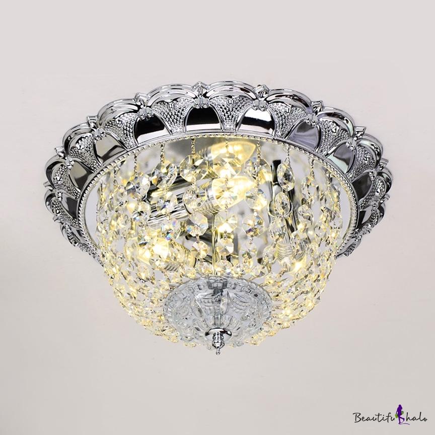 Clear Crystal Dome Ceiling Light Fixture Multi Lights Vintage Style Flush Mount Lighting Living Room