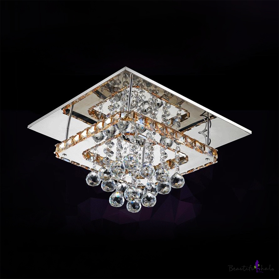 Square LED Semi Flush Mount Light Bedroom Modern Ceiling Fixture Clear Crystal Ball Chrome
