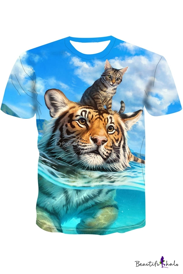 Mstyle Mens Fashion Crew Neck Summer Tiger Short Sleeve Blouse Tunic Tops