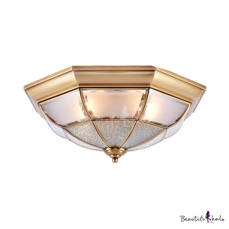 Living Room Bowl Ceiling Lamp Metal 3/4/6 Lights Elegant Style Brass Flush Mount Light